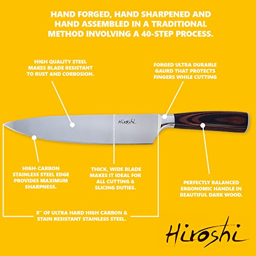 Premium Sushi & Sashimi Chef's Knife – 8'' Ultra High Carbon Steel (Premium Chef Knife) by HIROSHI (Image #4)