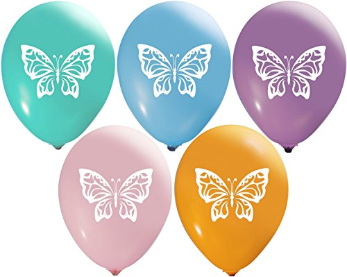 Butterfly Balloons | Colorful Latex Balloons (20-Count) Happy Birthday Party or Event Use | Fill with Air or Helium | Kid-Friendly