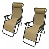 ALEKO 2FLCH-SD Outdoor Patio Foldable Chaise-Longue Leisure Pool Beach Chair, Sand Color, Lot of 2 For Sale