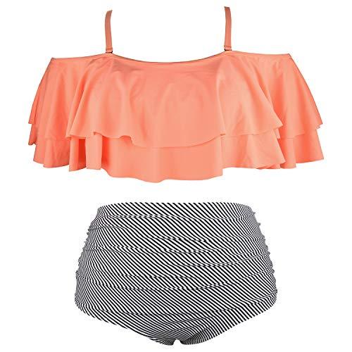 - Wavely Women Plus Size Swimwear Two Piece Ruffle Flounce Off Shoulder Swimsuits with High Waisted Print Bikini Bottoms