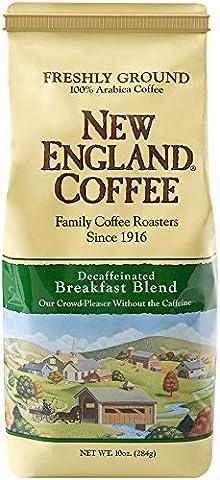 New England Coffee Breakfast Blend, Decaffeinated, 10 Ounce - Caffeine Free Coffee