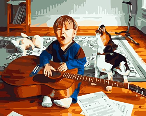 JynXos Paint by Number Kits for Adults Kids - Little Boy Puppy Dog and Guitar 16x20 inch Linen Canvas without Wooden Frame