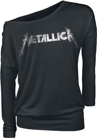 Metallica Spiked Logo Mujer Camiseta Manga Larga Negro, Regular: Amazon.es: Ropa y accesorios
