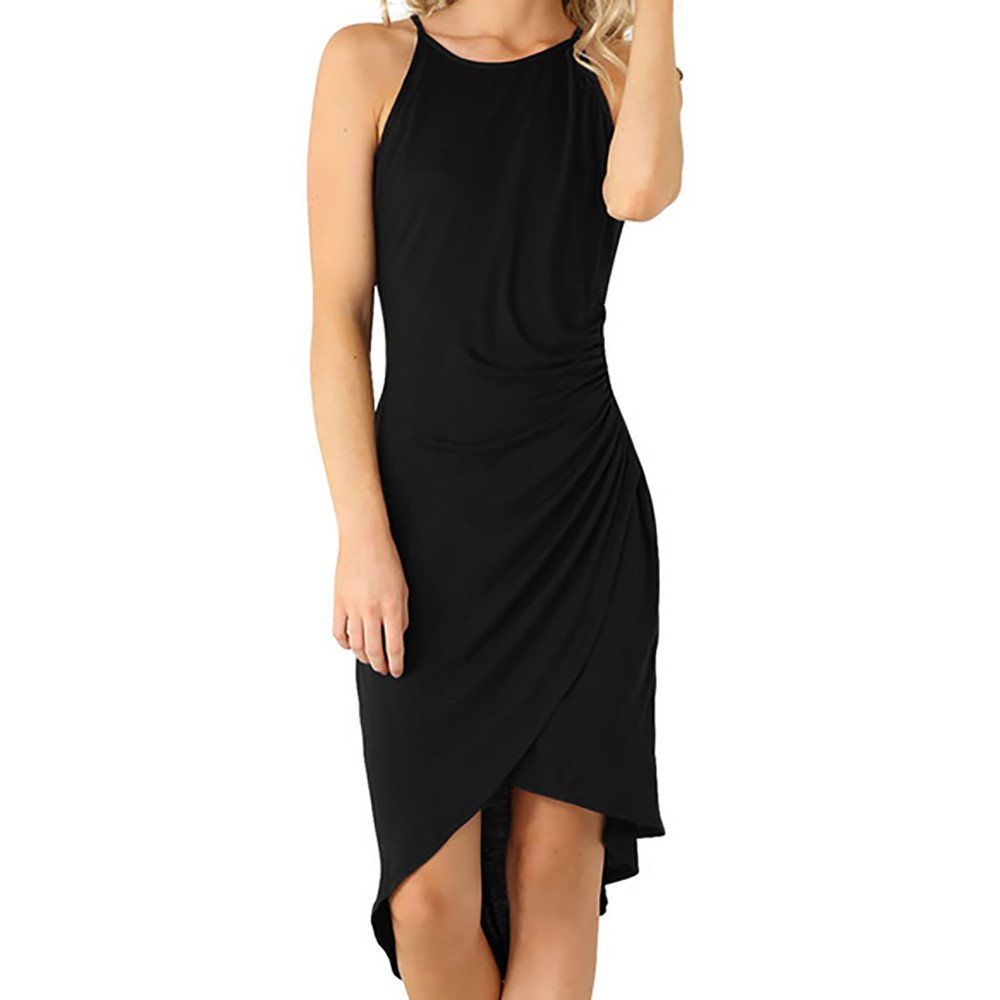 Briskorry Vestido Irregular Plisado Falda sin Mangas Skirt de Las ...