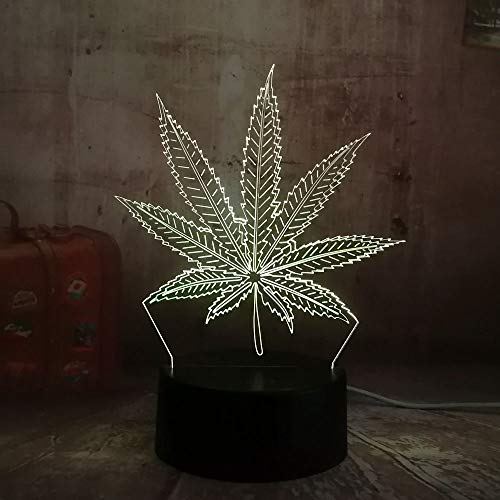 KUKULE New 2019 Weed Hemp Leaf 3D Led Lamp House Decoration Sleep Night Light Lamp Desk Table Holiday Gifts Toy Flash Party Decor Lava