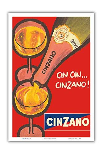 Pacifica Island Art - CIN CIN Cinzano - Asti Spumante - Italian Sparkling Wine - Vintage Advertising Poster c.1970 - Master Art Print - 12in x 18in ()