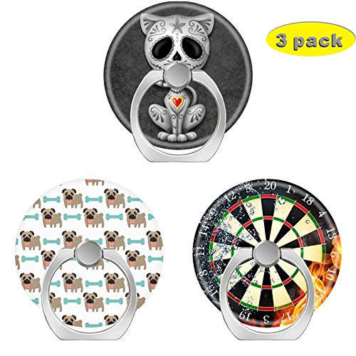 (3 Pack/Cell Phone Ring Holder 360 Degree Rotation Finger Stand Works for All Smartphone and Tablets-Dark Zombie Sugar Kitten Darling Pug Bone Board Fire Water )