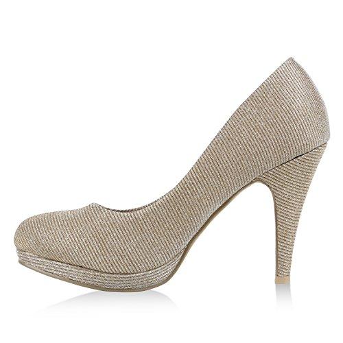 Stiefelparadies Damen Lack Pumps Stiletto High Heels Metallic Schuhe Party Abendschuhe Plateau Plateau Pumps Flandell Gold Glitzer