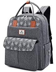 Lekebaby Diaper Bag Backpack Multifunction Large Travel Diaper Backpack Nappy Bag for Mom and Dad with Insulated Pockets & Changing Pad, Arrow Print (Gray)