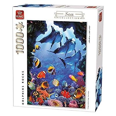 King 5667 Delfini Rocks Sea World Puzzle Da Pezzi 68 X 49 Cm