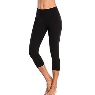 Sociala Womens High Rise Yoga Pants Squat Proof Leggings Black Capri Leggings XL