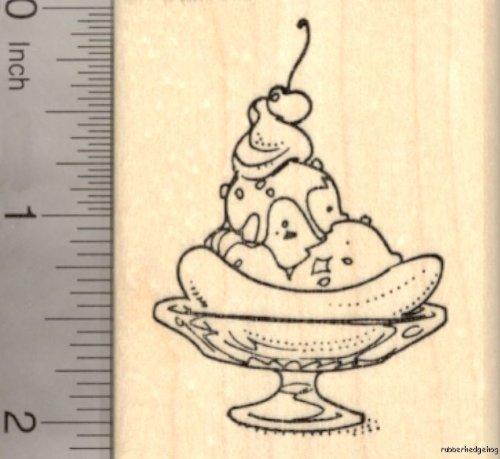 - Banana Ice Cream Split Rubber Stamp, Sundae Dessert