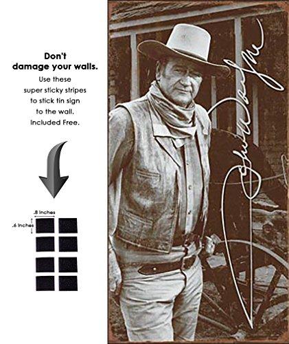 (Shop72 - Hollywood Movie Tin Sign Movie John Wayne Autograph Tinsign)