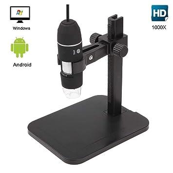 GVESS 1000X 8 LED 2MP del USB del Endoscopio del Microscopio digital Cš¢mara lupa con el Soporte de Elevaciš®n: Amazon.es: Electrónica