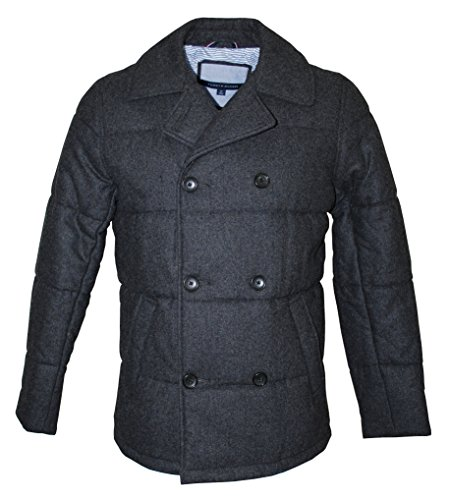 Tommy Hilfiger Men's Wool Blend Double Breasted Quilted Peacoat, Charcoal (Medium)