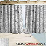 Wlkecgi Outdoor Waterproof Curtain Floral Abstract Sketchy Hand Drawn Garden Spring Flowers with Grey Backdrop Image Insulated with Grommet Curtains for Bedroom W63 x L45 Light Grey and White