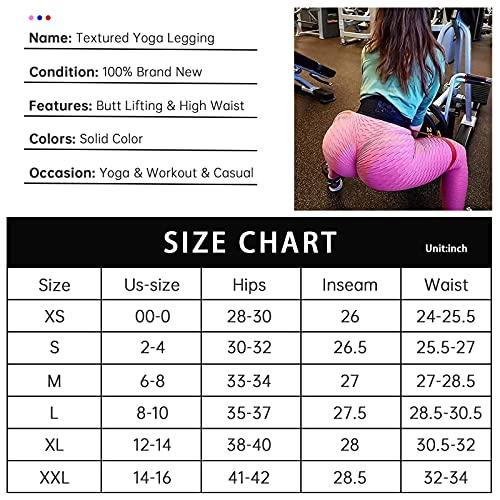 TIK tok Butt Lift Leggings for Women High Waist Yoga Pants -Tummy Control Slimming Workout Running Booty Leggings Butt Lift Textured Tights (Black, Medium)