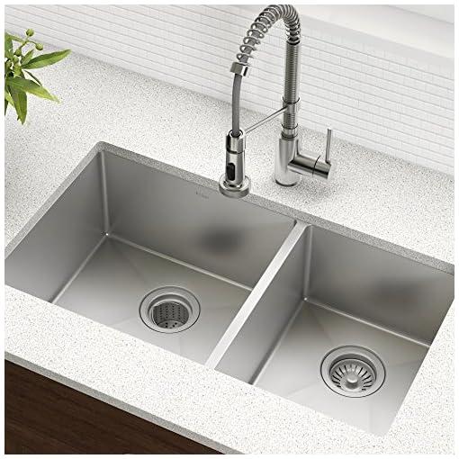 Kitchen Kraus Standard PRO 33-Inch 16 Gauge Undermount 60/40 Double Bowl Stainless Steel Kitchen Sink, KHU103-33 modern kitchen sinks