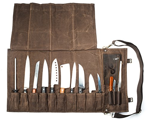 Chef Knife Roll Bag (13 Slots) | Stores 10 Knives, 3 Kitchen Utensils PLUS a Zipper | Durable Waxed Canvas Knife Carrier | Easily Carried by Shoulder Strap For Professional Chefs | Knives Not Included (Leather Chef Knife Roll)