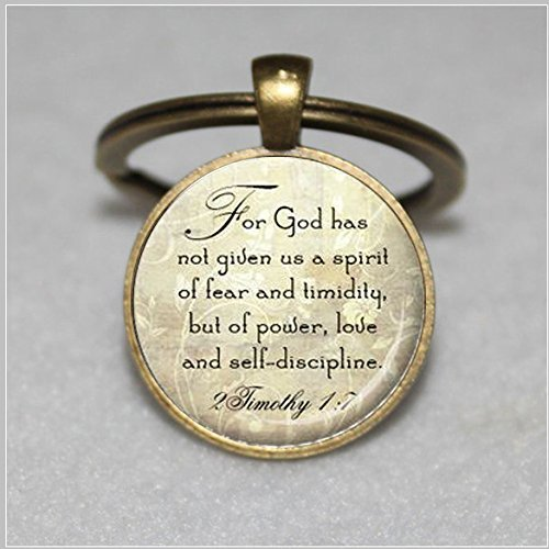 - Long silver Christian Scripture Keychain - 2 Timothy 1:7 bible quote