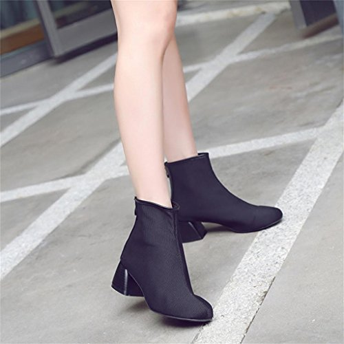 sandals shoes US6 fashion Summer Black wild high with rough Size 240mm beach 5 5 Black ALUK UK5 38 boots thin sexy shoes Color HE5qx0