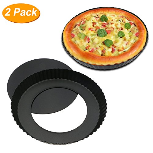 Homga 2 Pack Non-Stick 8.8 Inches Removable Loose Bottom Quiche Tart Pan, Tart Pie Pan, Round Tart Quiche Pan with Removable Base ()