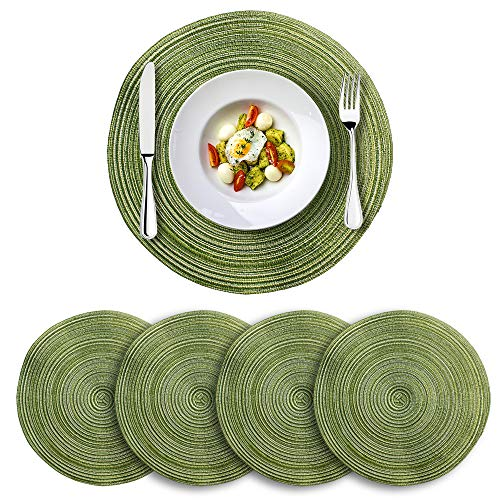 TYS Braided Round Placemats for Kitchen Dining Table, 13″ Washable Heat Resistant Table Mats, Set of 4 (Green)