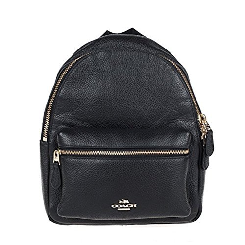 Coach Charlie Pebble Small Leather Backpack F38263 (Black)