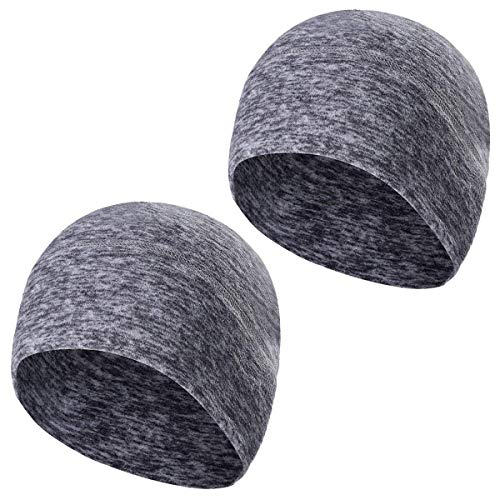 TAGVO Winter Fleece Beanie 2 Pack, Running Beanie Hat Headwear with Ear Covers, Helmet Liner for Adults Women and Men Elastic Size Universal