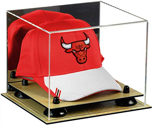 Display Cap Hat Case (Deluxe Acrylic Basketball Hat or Cap Display Case with Mirror, Black Risers and Wood Base (A006-BR))