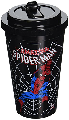 Silver Buffalo MC3284 Marvel Spider-Man Swings Plastic Flip Straw Cold Cup, 16-Ounces