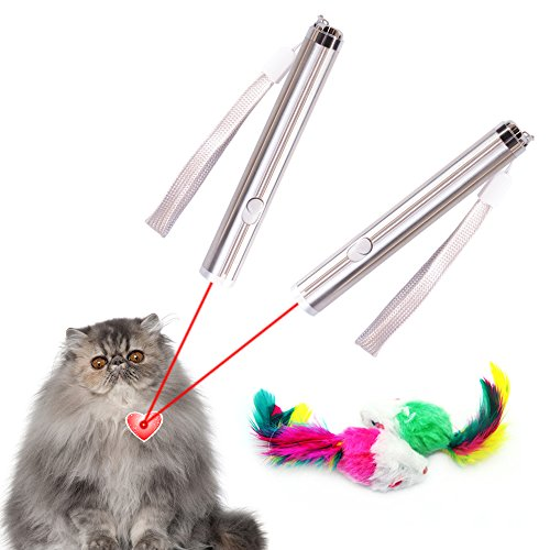 Multi Function Funny Cat Teaser Wand Interactive Led Light Pointer Pet Chaser Toy for Scratching Training and Exercise With Two Mouse Toy By Mimibox,2Pack