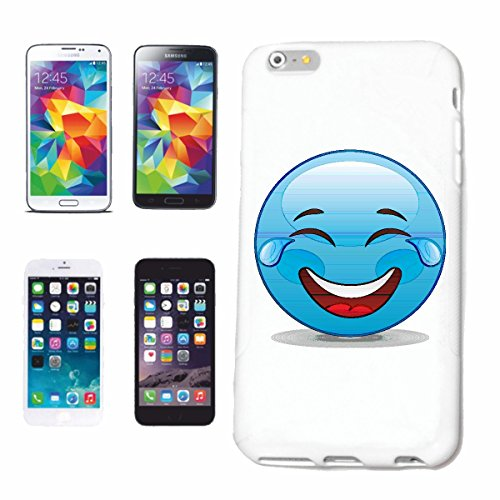 "cas de téléphone iPhone 4 / 4S ""RIRE SMILEY AVEC larmes dans les yeux EN BLEU ""sourire EMOTICON APP de SMILEYS SMILIES ANDROID IPHONE EMOTICONS IOS"" Hard Case Cover Téléphone Covers Smart Cover pour A"