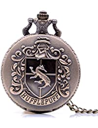 Antique Mens Pocket Watch,Cartoon Pocket Watch, Movie Pocket Watches for Kids, Christmas Birthday Gifts for Boys Girls (Bronze Hufflepuff)