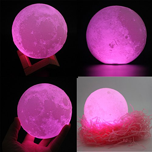 Moon Lamp 3D Printed Remote Control Night Light 16 RGB Colors Changing Dimmable LED Mood Light USB Rechargeable Moonlight 12cm/4.7 inch With Wood Stand (12cm) by Sourcebuy (Image #2)