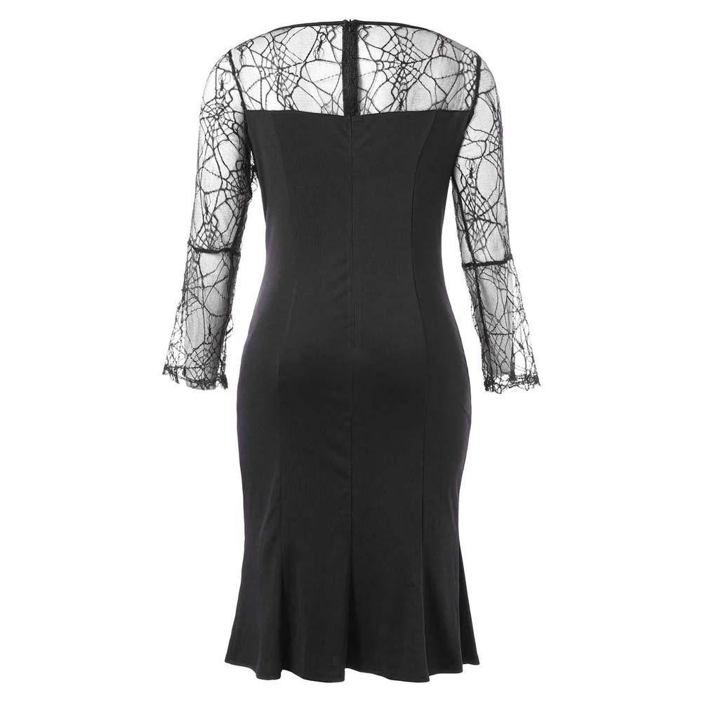 NRUTUP Women Halloween Party Cobweb Yarn Solid Zipper Long Sleeves Knee Length Dress