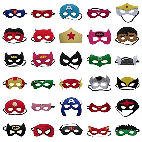 30 Pieces Superhero Masks - Superheroes Party Masks for Children, Superhero Party Supplies, Perfect for for Children or Boys Aged (Katniss Costume Training)