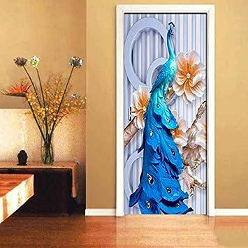 HYXLN Etiqueta de la puerta 3D en relieve Orquídea de pavo real a ...