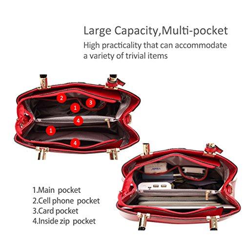 NICOLE&DORIS Neu Dame Handtaschen Reisetasche Schultertasche Taschen Umhängetasche PU Rosa Rot