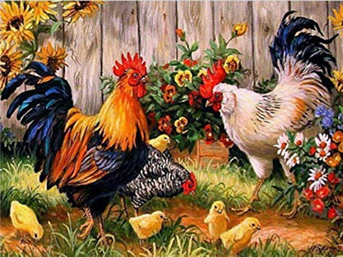 YEESAM ART New DIY Paint by Numbers Kits for Adults Kids Beginner - Rooster Chicken Family, Flowers Animals 16x20 inch Linen Canvas - Stress Less Number Painting Gifts