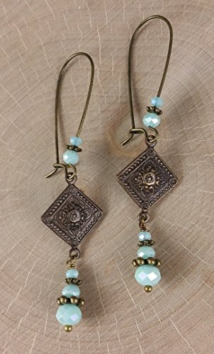 Victorian Blue Skies Carved Diamond Earrings in Antique Brass with Faceted Crystals (Antique Womens Beads)