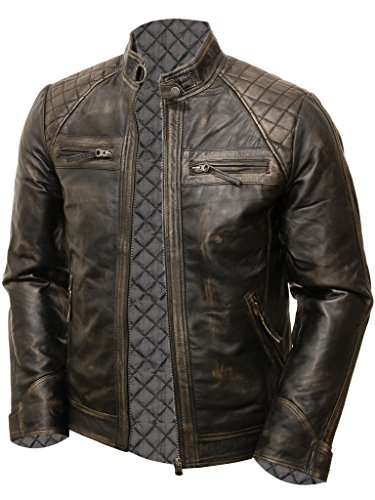 SaleProductsOffer - No.1 Best Online Store 51WY26T39ML Abbraci Men's MotoBiker Vintage Shade Cafe Racer Quilted Motorcycle Padded Shoulder Wax Real Lambskin Leather Jacket