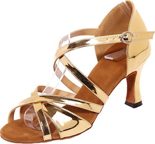 Cha Find Cha Womens Comfort Mid Toe Shoes Open Heel Wedding Glitter Straps Ballroom Soft Swing Tango Sudue PU Body Nice Dance Sole Gold Party Latin wP7r5w