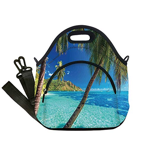 Insulated Lunch Bag,Neoprene Lunch Tote Bags,Ocean,Image of a Tropical Island with the Palm Trees and Clear Sea Beach Theme Print,Turquoise Blue,for Adults and children