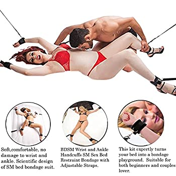 GEBDSM Sex Toys Fetish Erotic Under Bed Bandage Restraints Handcuff Ankle Cuff For Male Female Couples Flirting Lingerie BDSM Kit Sex Play