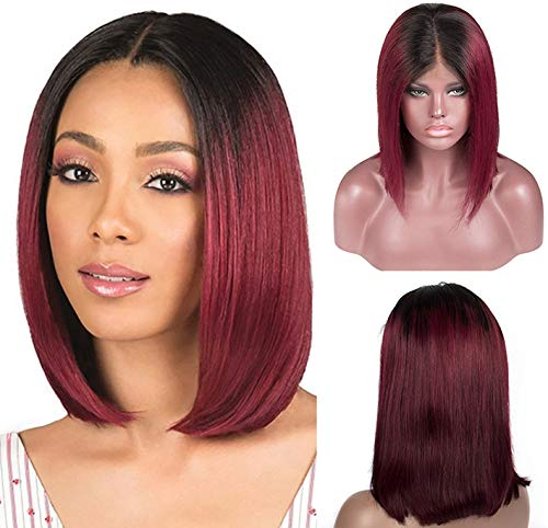 Dark Roots 99J Bob Wigs Ombre Wine Red Short Bob Lace Front Virgin Human Hair 8