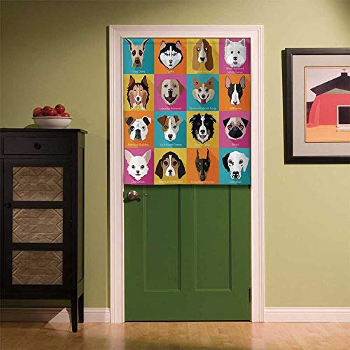 YOLIYANA Kids Fabric Art Door Curtain,Pattern with Dogs Retro Popart Style Bulldog Hound Cartoon Print Art for Dog Lovers for Locker Room Store Privacy Space,33.46''W x 39.37''H