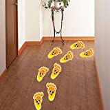 (Pack of 5 Pairs)Cute Cartoon Guide Footprints Self-Adhesive Stickers for Kids Room Nursery Floor Stairs Removable Decor Decals(Orange,L)