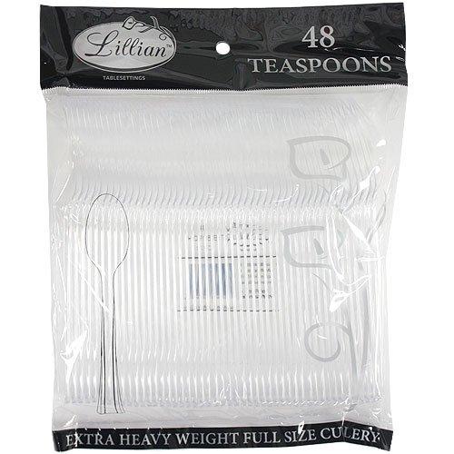 Lillian Tablesettings 48 Count Premium Plastic Teaspoon, Cle