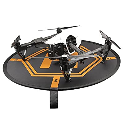 Hooshion Collapsible Helicopters Helipad Dronepad Launch Landing Pad 2 Sides Use for RC Quadcopters DJI Phantom 2 3 4 Inspire 1 Mavic Pro, Black and Orange, Opening Size110 x110 CM,with a Storage Bag